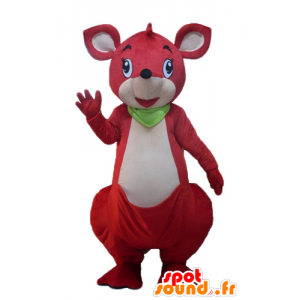 Mascotte de kangourou rouge et blanc, avec un foulard vert