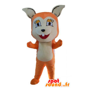 Mascot orange and white fox, cute and endearing