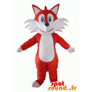 Mascotte de renard orange et blanc, aux yeux bleus