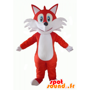 Oranje en witte vos mascotte, blauwe ogen