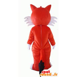 Orange und weiße Fuchs Maskottchen, blauäugigen - MASFR23059 - Maskottchen-Fox