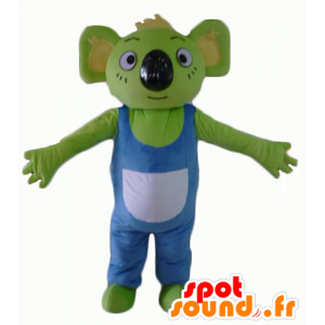 Koala mascot green with a blue and white overalls