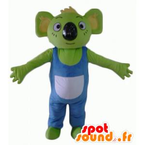 Mascotte de koala vert, avec une salopette bleue et blanche