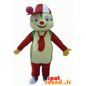 Teddy mascot colorful, green, yellow, red and white - MASFR23064 - Bear mascot