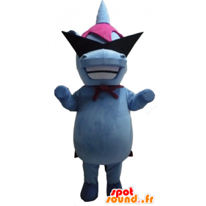 Mascot blå og rosa flodhest med designer briller