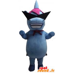 Mascot blauw en roze nijlpaard met designer bril