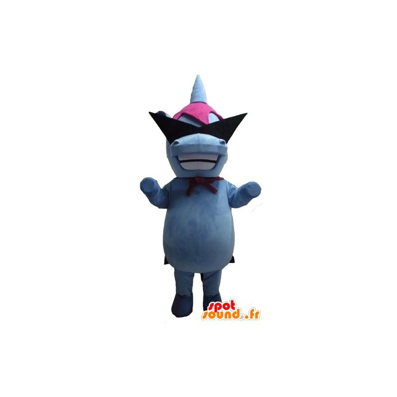 Mascot blue and pink hippo with designer glasses - MASFR23068 - Mascots hippopotamus