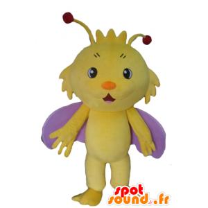 Mascotte de papillon, d'insecte jaune et violet