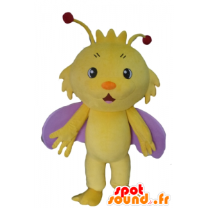 Vlinder mascotte, geel en paars insect