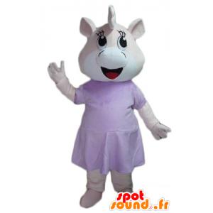 Mascote porco, vestido rosa e hipopótamo branco - MASFR23071 - mascotes porco