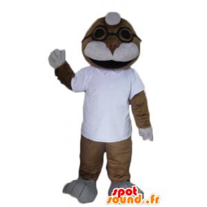 Mascote selo, leão mar, castanho e branco
