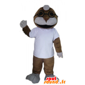 Seal mascot, sea lion, brown and white - MASFR23073 - Mascots seal
