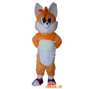 Mascotte de renard orange et blanc, aux yeux bleus - MASFR23074 - Mascottes Renard