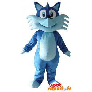 Mascot pretty blue fox, bicolor, cheerful