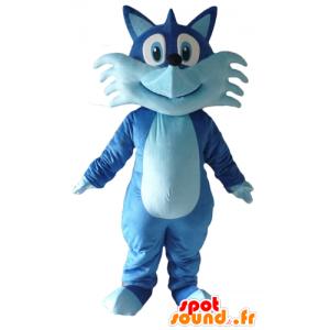 Mascotte de joli renard bleu, bicolore, très souriant