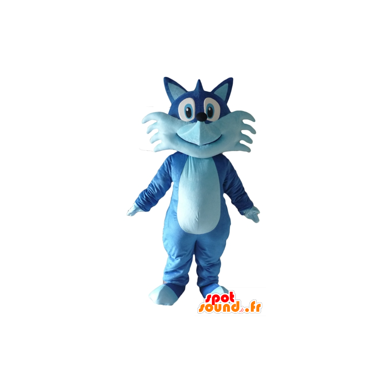 Mascotte de joli renard bleu, bicolore, très souriant - MASFR23075 - Mascottes Renard