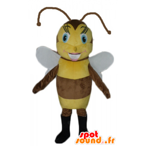 Mascot brown and yellow bee, pretty and feminine