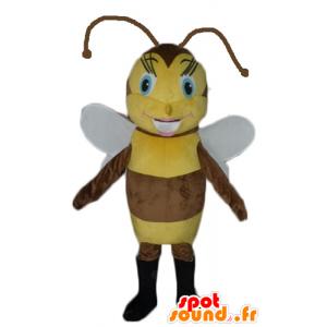 Maskotti ruskea ja keltainen mehiläinen, kaunis ja naisellinen