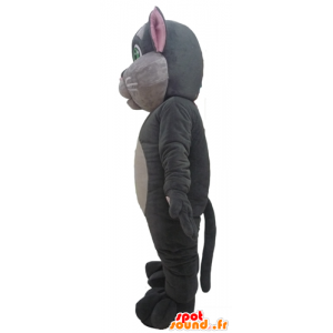 Maskotti suuri vaaleanpunainen ja harmaa kissa vihreät silmät - MASFR23082 - kissa Maskotteja