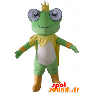 Green frog mascot, yellow and white, with a crown