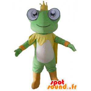 Mascotte de grenouille verte, jaune et blanche, avec une couronne