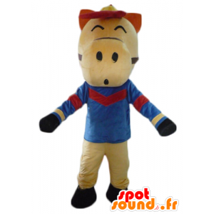 Beige horse mascot, red and black, dressed in blue - MASFR23085 - Mascots horse
