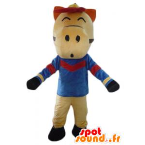 Mascota del caballo beige, rojo y negro, vestida de azul - MASFR23085 - Caballo de mascotas