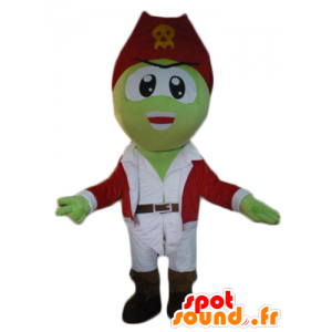 Grüne Piraten-Maskottchen, weiß und rot Outfit