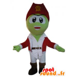 Mascotte de pirate vert, en tenue blanche et rouge