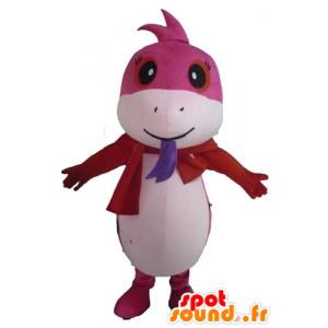 Mascot hübschen rosa und weiße Schlange, Erbse