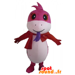 Mascot mooie roze en witte slang, gevlekte