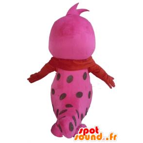 Mascotte de joli serpent rose et blanc, à pois - MASFR23089 - Mascottes de reptiles