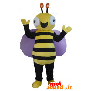 Black and yellow bee mascot, very cheerful - MASFR23090 - Mascots bee