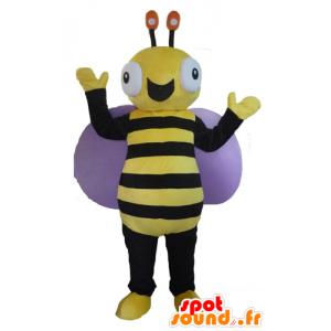 Schwarze und gelbe Bienenmaskottchen, sehr fröhlich - MASFR23090 - Maskottchen Biene