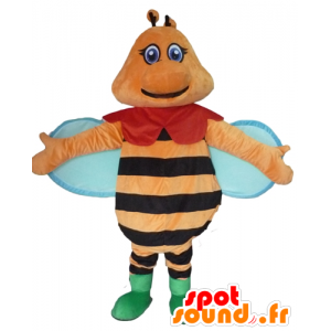 Bee mascot orange, black and blue, colorful and smiling - MASFR23091 - Mascots bee