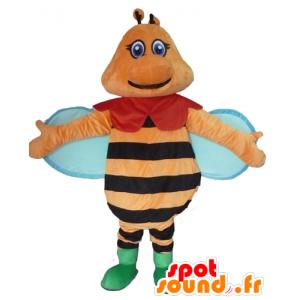 Bee Maskottchen orange, schwarz und blau, bunt und lächelnd - MASFR23091 - Maskottchen Biene