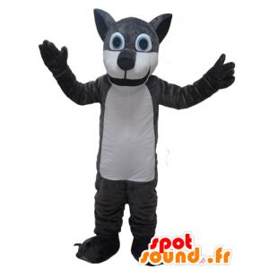Riesen-Wolf-Maskottchen, grau und weiß - MASFR23093 - Maskottchen-Wolf