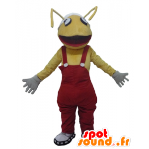 Mascot formiche gialle, con una tuta rosso