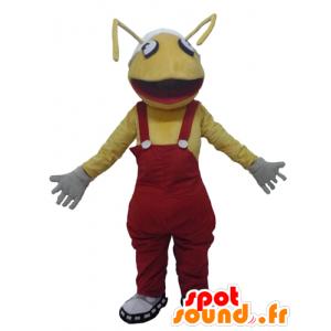 Mascotte de fourmis jaune, avec une salopette rouge