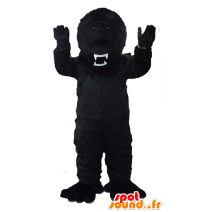 Black gorilla mascot, fierce-looking