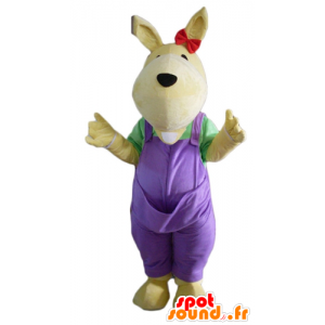 Žlutý klokan maskot, s fialovými kombinéz