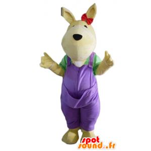 Mascote canguru amarelo, com um macacão violeta