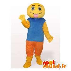 Snowman mascot yellow tongue. Yellow suit - MASFR006557 - Human mascots