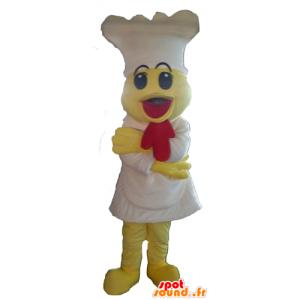 Maskot gul kylling med forklæde og hvid hat - Spotsound maskot