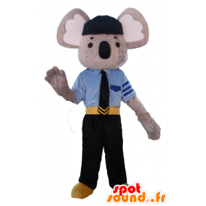 Grigio mascotte e koala bianco, vestito in uniforme della polizia - MASFR23101 - Mascotte Koala