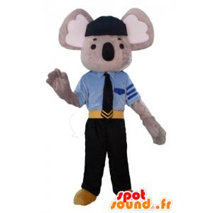 Mascot grijze en witte koala, gekleed in politie-uniform