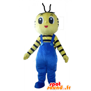 Mascot yellow and black bee with blue overalls - MASFR23102 - Mascots bee