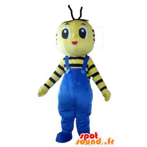 Maskottchen-gelb und schwarz Biene mit blauen Overalls - MASFR23102 - Maskottchen Biene
