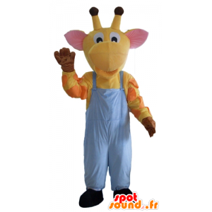 Amarillo mascota jirafa, naranja y rosa, overoles - MASFR23108 - Mascotas de jirafa