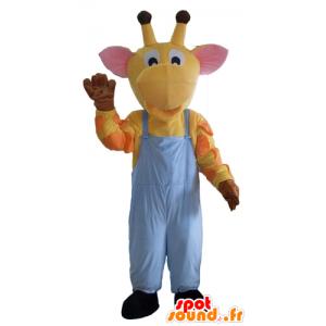 Yellow giraffe mascot, orange and pink, overalls